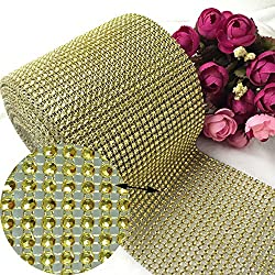 Gold Diamond Rhinestone Ribbon Bling Wrap Bulk DIY- Birthday,Bridal/Baby Shower,Wedding Cake,Arts & Crafts Vase Decorations, Party Supplies 30 Feet/Roll by New Sheep