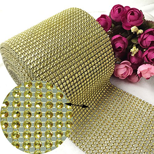 (Bling Rhinestone Diamond Ribbon, AkoaDa Silver Bling Diamond Wrap Ribbon for Event Decorations, Wedding Cake, Bridal & Party Decorations Acrylic Bling Rhinestone Roll (Gold, 30 Ft))
