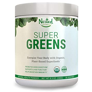 Super Greens | #1 Green Veggie Superfood Powder | 30 Servings | 20+ Whole Foods (Wheat Grass, Spirulina, Chlorella), Probiotics, Fiber & Enzymes | 100 Percents Usda Organic Non Gmo Vegan Supplement... by Nested Naturals