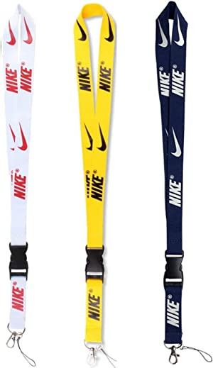 Fashion Lanyard 3 Pack Neck Lanyard Strap for Keychains Keys Cell Phones Whistles Wallet ID Badge Holder Camera with Quick Release Buckle (White Yellow Blue)