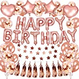 Rose Gold Happy Birthday Balloons Decoration,Rose Gold Star Heart Balloons Star String Happy Birthday Banner Kit for Women Kids Birthday Party(46PCS)