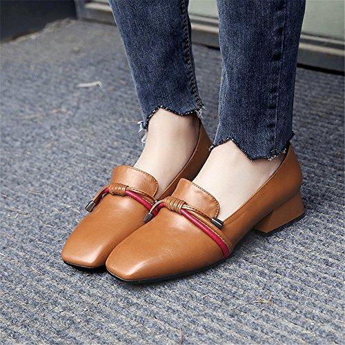 Cuero Brown de Irregular con XZGC con de el Zapatos Perezoso Trabajo Mujer Zapatos qcRvw7at