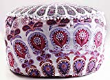 Indian Mandala Hippie Bohemian Tapestry Pouf Ottoman Handmade Pouf Cover, Decorative Round Floor Pillow Foot Stool Seating Pouf Home Decor Chair Cover Bohemian Decor 14x24 (Cover Only)