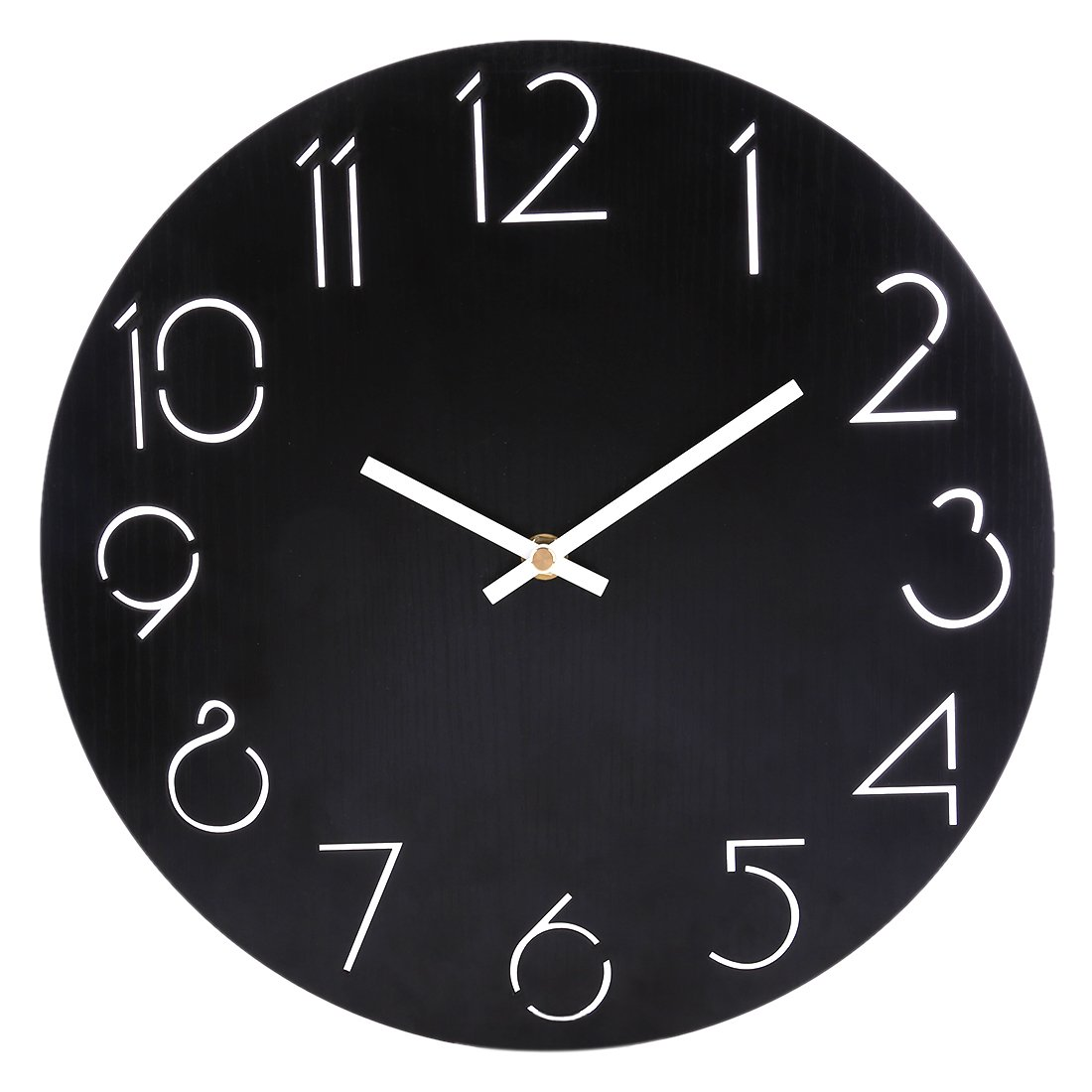 Simple Country Style MDF Round Wall Clock Bedroom Living Room Brief Quarz Mute Clock Wall Decor Black