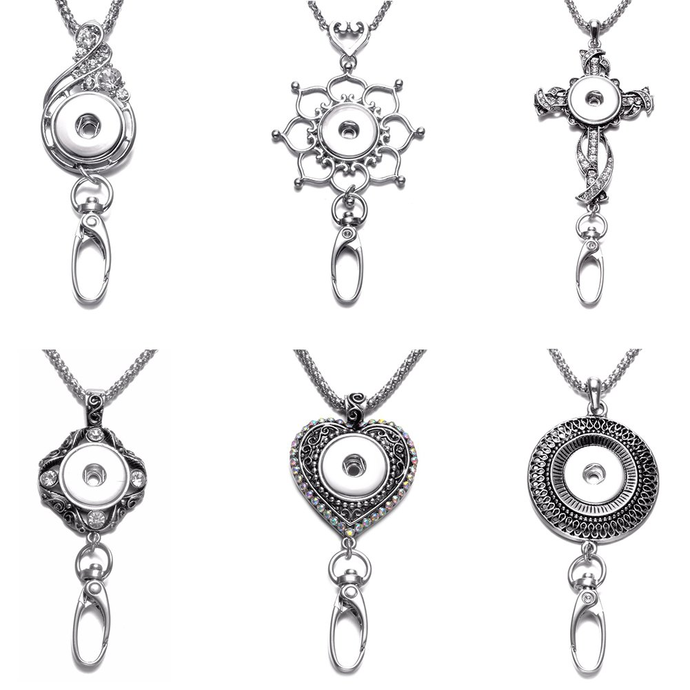 Soleebee 6 Pcs Office Lanyards Snap Button Jewelry 34.3 inches ID Badge Lanyard Necklace with Swivel Oval Clasp for ID Badges Keys (Style 2)