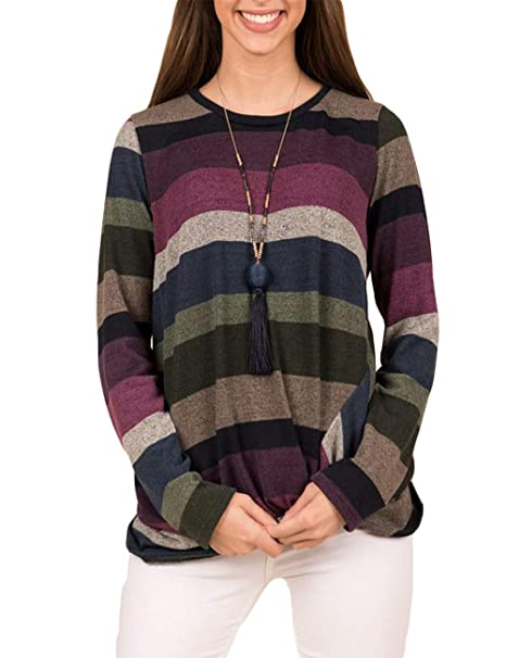 5bc437e403 Promaska Women's Crewneck Stripe Color Block Long Sleeve Tops T Shirts Tees  Blouses with Knot Front at Amazon Women's Clothing store: