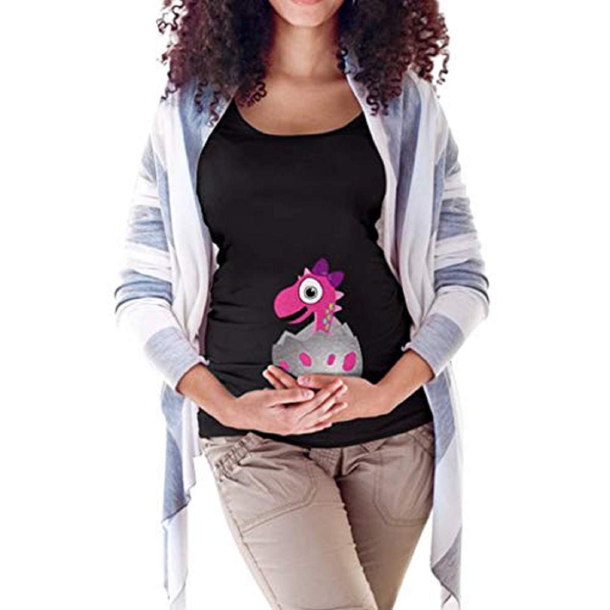 OTINICE Women's Easter T-Shirt Maternity Mommy Letter Egg Dinosaur Tops Pregnancy Clothes (XXL, Black-1)