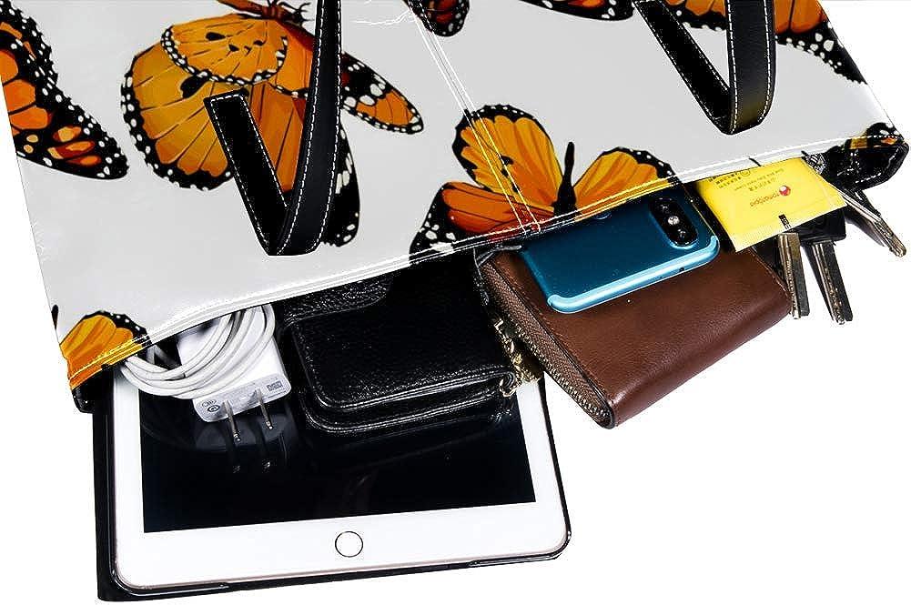 Butterflies Pattern Womens Bag Shoulder Tote handbag Zipper Purse Top-handle Zip Bags