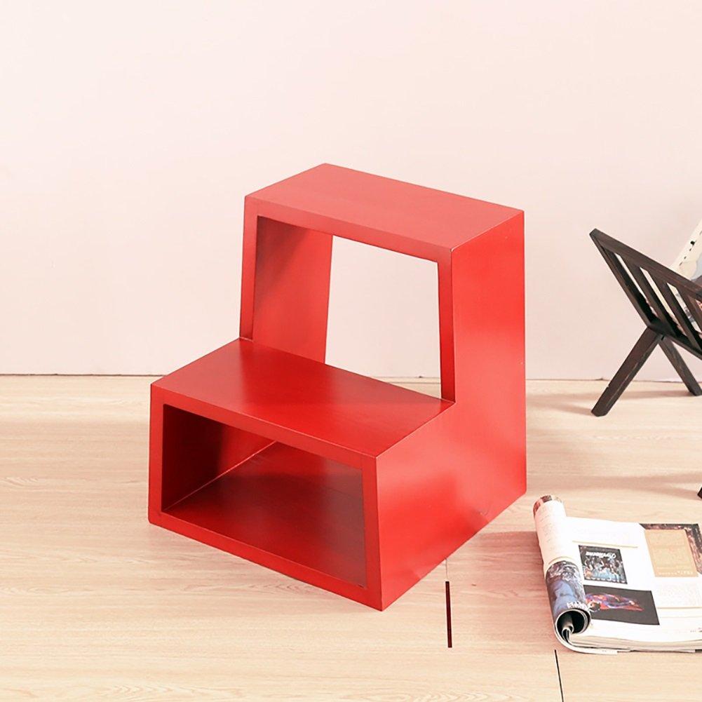 はしご便 ソリッドウッドスモールスツール家庭ステップスツール着用スツールクリエイティブファッショナブルな階段スツールラダースツール (色 : Red) B07F3KFT15 Red Red