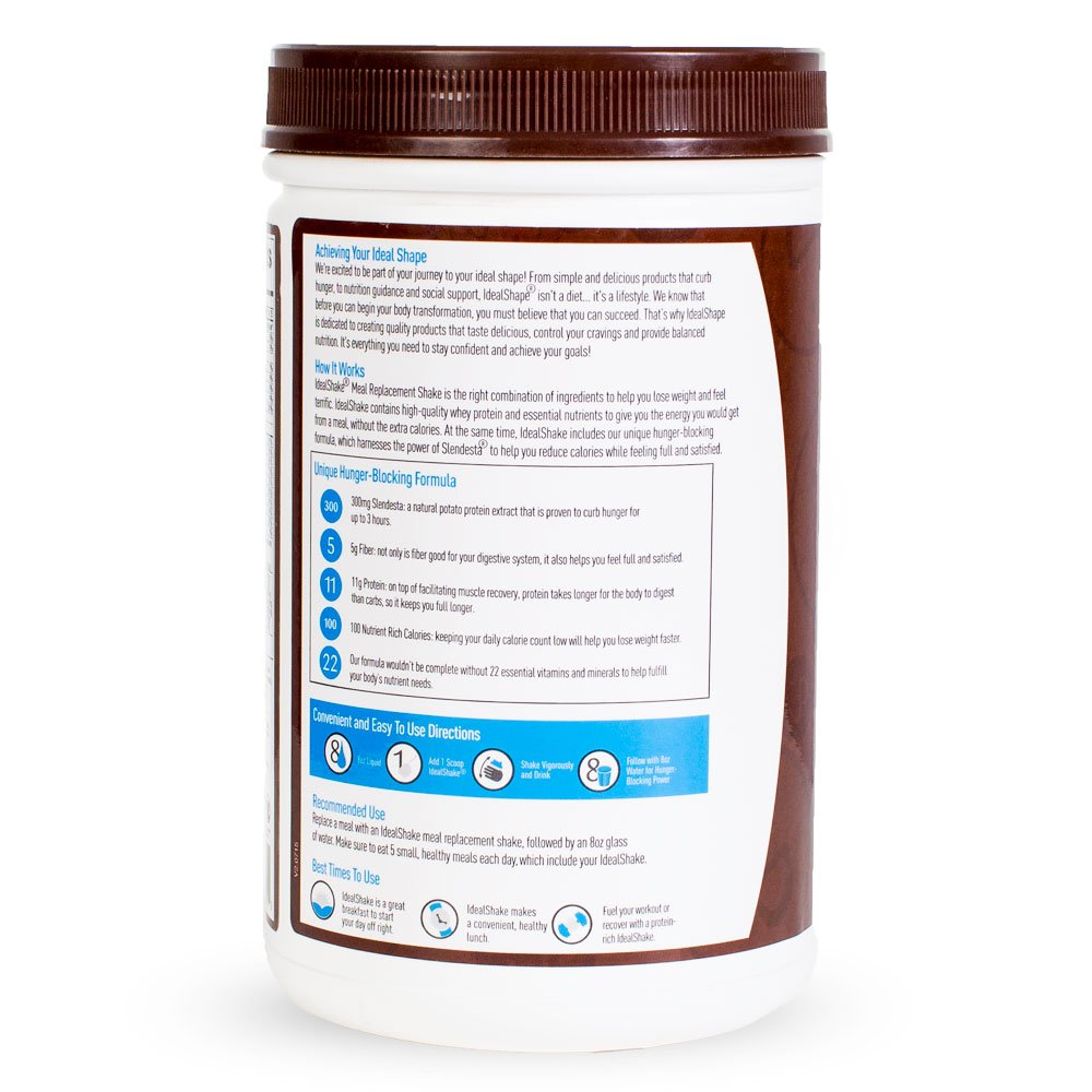 IdealShake Meal Replacement Shakes  11-12g of Healthy Whey Protein Blend   Promotes Weight Loss   22 Essential Vitamins & Minerals   5g of Fiber   Chocolate   30 Servings