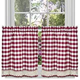 Kitchen Window Treatments Red Buffalo Check Plaid Gingham Custom Fit Window Curtain Treatments By GoodGram - Assorted Colors, Styles & Sizes (24 in. Tier Pair, Burgundy)