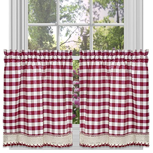 Buffalo Check Plaid Gingham Custom Fit Window Curtain Treatments By GoodGram - Assorted Colors, Styles & Sizes (36 in. Tier Pair, Burgundy) (Kitchen Panels Curtain)