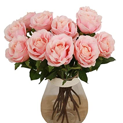 Amazon Com Elome Artificial Flowers Real Touch Silk Pu Flower Rose