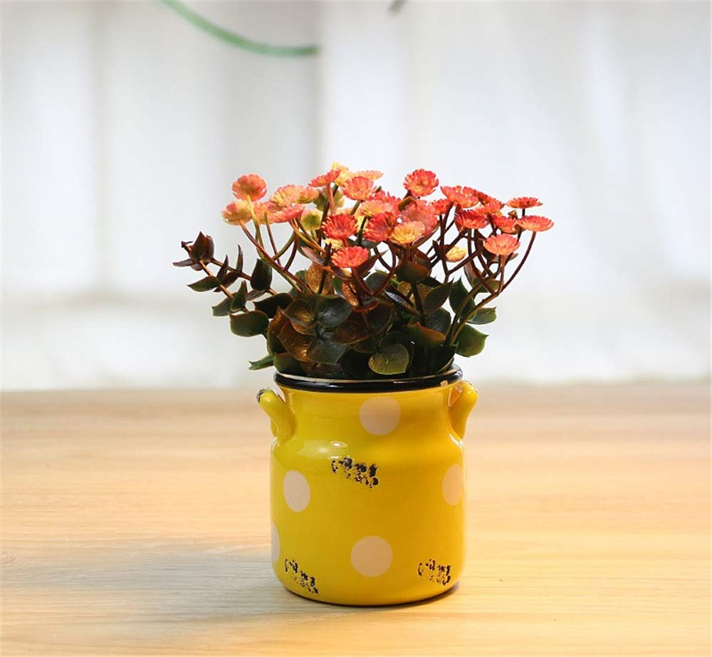 JruF Colored Dot Binaural Cylinder Rose Red Starry Artificial Flower Pot Planted European Design Arrangement Home Office Restaurant Table Center Window Sill Decoration