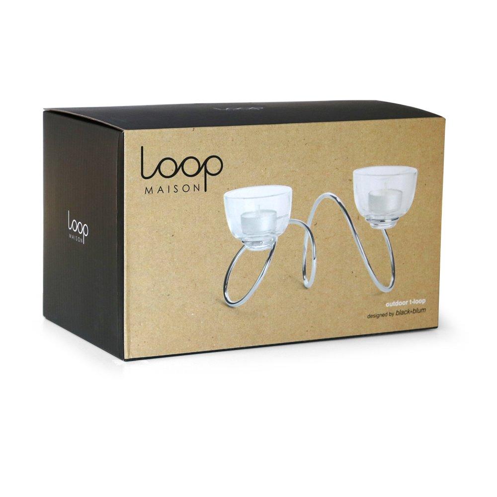 Black+Blum T-Loop Tea Light Candle Holder| Outdoor Candle Holder for Tealight Candles with Cast Glass Tealight Holders Fibonacci Curve Inspired, Chrome Steel Finish OT001