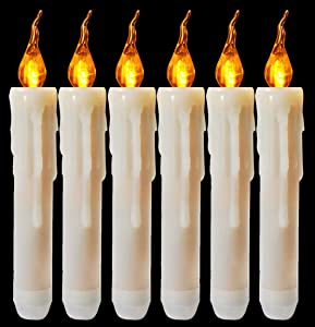 Houdlee 6PCS Wax Dripped Amber Flickering Flameless LED Taper Candle, Battery Operated Taper Candles for Christmas, Wedding, Candelabra, Party, Sconces, Chandelier, Menorah - Batteries Not Included