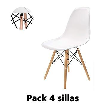 EGNM Pack 4 sillas de Comedor Blanca Silla diseño nórdico ...