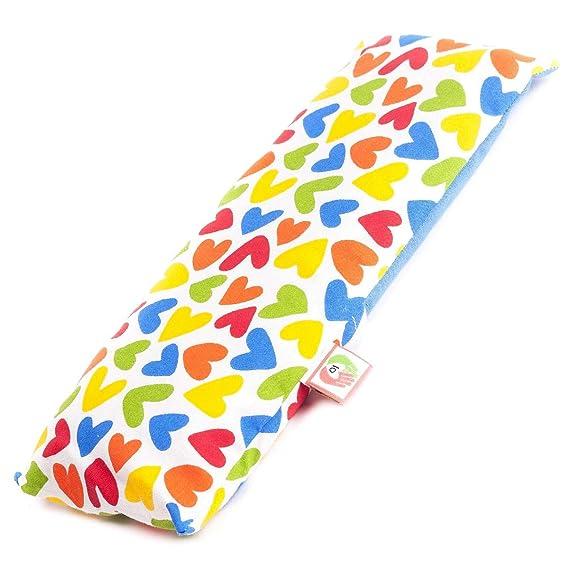 Saco termico de semillas para calentar la cuna de los bebés (25x10cm). Almohada para microondas con funda lavable en tela de algodon 100% y suave olor ...