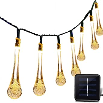 ATPWONZ 30 LEDs Solar Exterior Luz Cadena con Sensor - 6.5 Metros Gota de Agua Cadena de Luces Solar Impermeable 8 Modos Perfecto para Decorar Pergolas,Jardines,Terraza,Patio,Casa,Árbol de Navidad (Blanca Cálida): Amazon.es: Iluminación