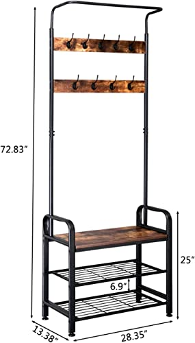 OTU Industrial Vintage Coat Rack Shoe Bench, Hall Tree Entryway Storage Shelf, 3 in 1 Design,a Great Choice for Bathroom, Kitchen, Bedroom,Office,Home