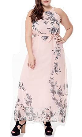 d9987a30ac Women s Plus Size Floral Printed Chiffon Sleeveless Halter Maxi Dress with  Belt Pink
