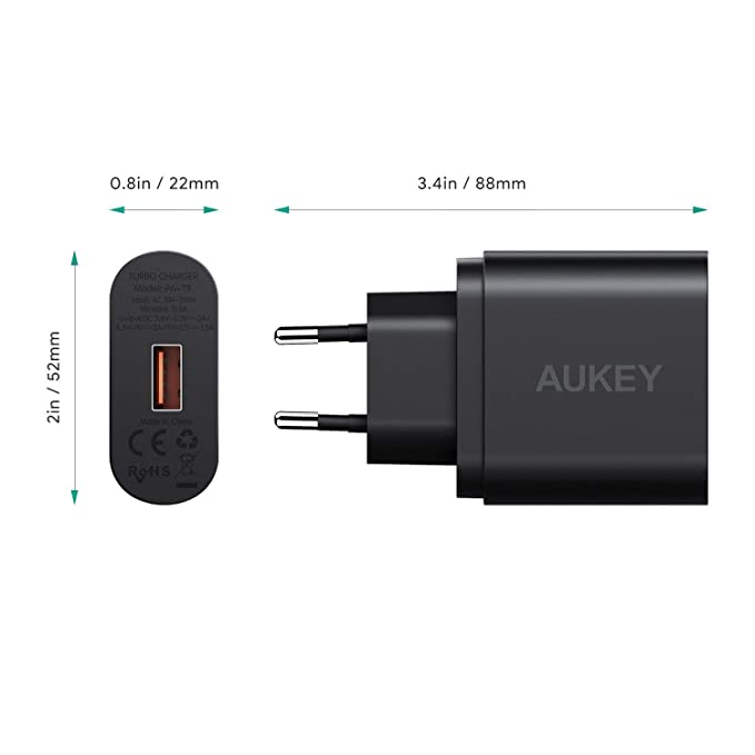 AUKEY - Quick Charge 3.0, cargador USB de pared, 19,5W, para ...