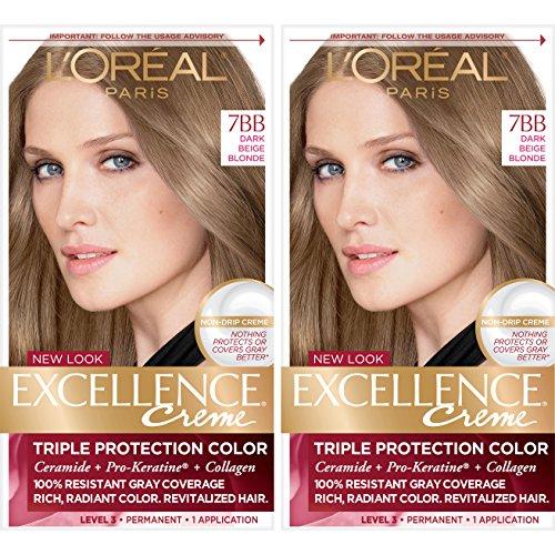 LOréal Paris Excellence Créme Permanent Hair Color, 7BB Dark Beige Blonde (2 Count) 100% Gray Coverage Hair Dye
