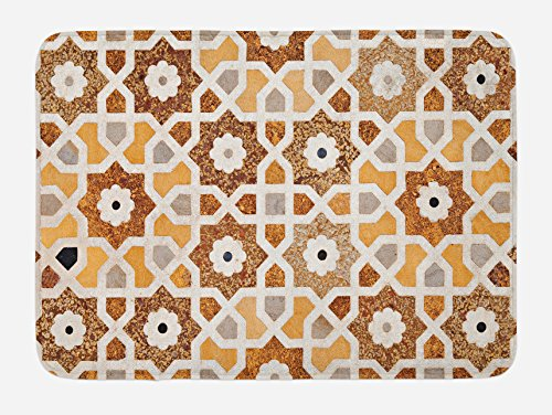 Ambesonne Antique Bath Mat, Detail of Inlay and Geometric Carvings Asian Taj Mahal Tomb Architecture, Plush Bathroom Decor Mat with Non Slip Backing, 29.5 W X 17.5 L Inches, Cream ()
