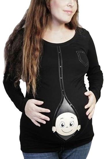 Yacun Mujere Camisetas Embarazadas Divertida Premama Tops Blusas Manga Larga: Amazon.es: Ropa y accesorios