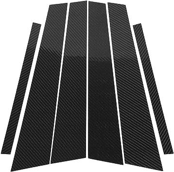 6pcs Carbon Fiber Exterior Window B-pillars Panel Trim For BMW E60 2004-2010