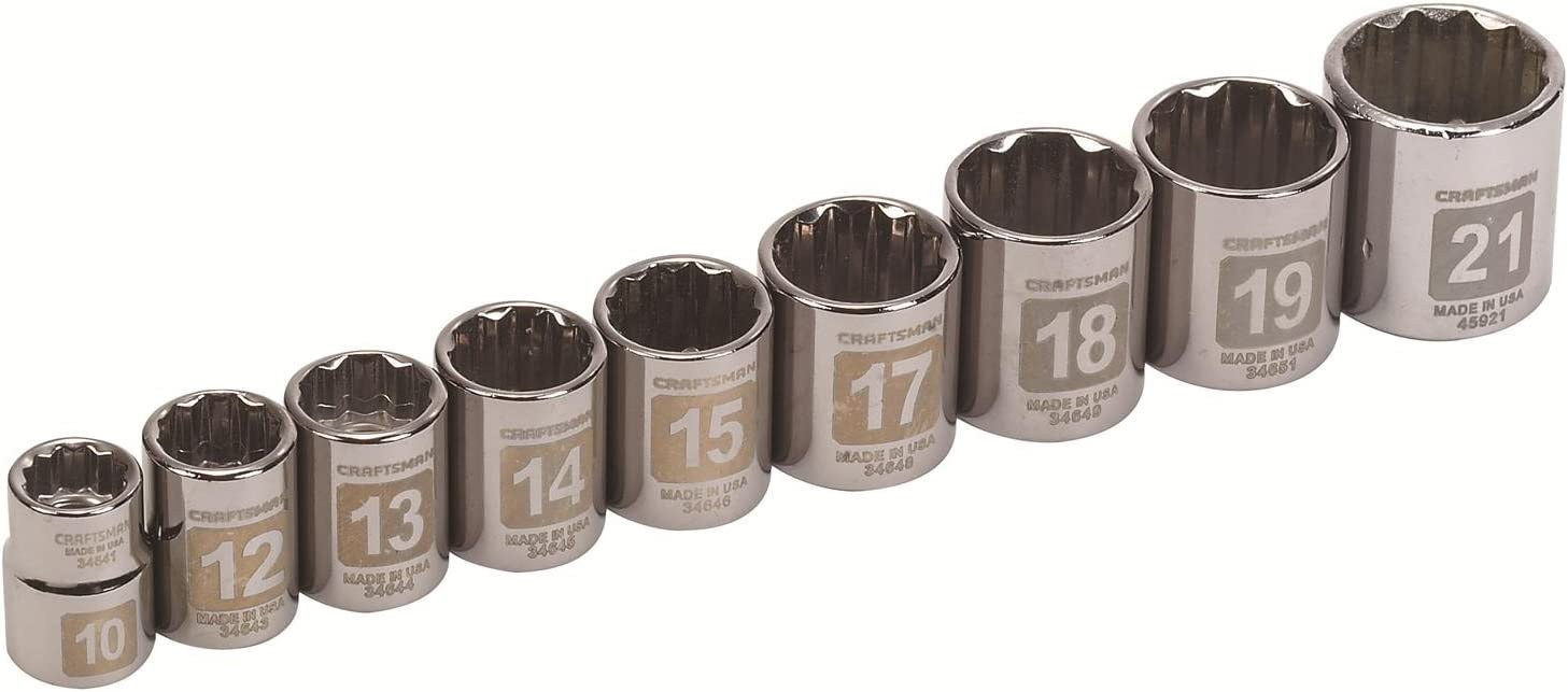 Craftsman 9 Piece Impact Socket Set Easy To Read 3//8 Inch Drive Metric 6 Point