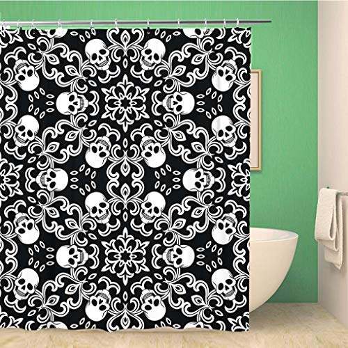 Awowee Bathroom Shower Curtain Pattern Skulls Gothic Halloween Tattoo White Spooky Pirate Black Polyester Fabric 72x72 inches Waterproof Bath Curtain Set with Hooks