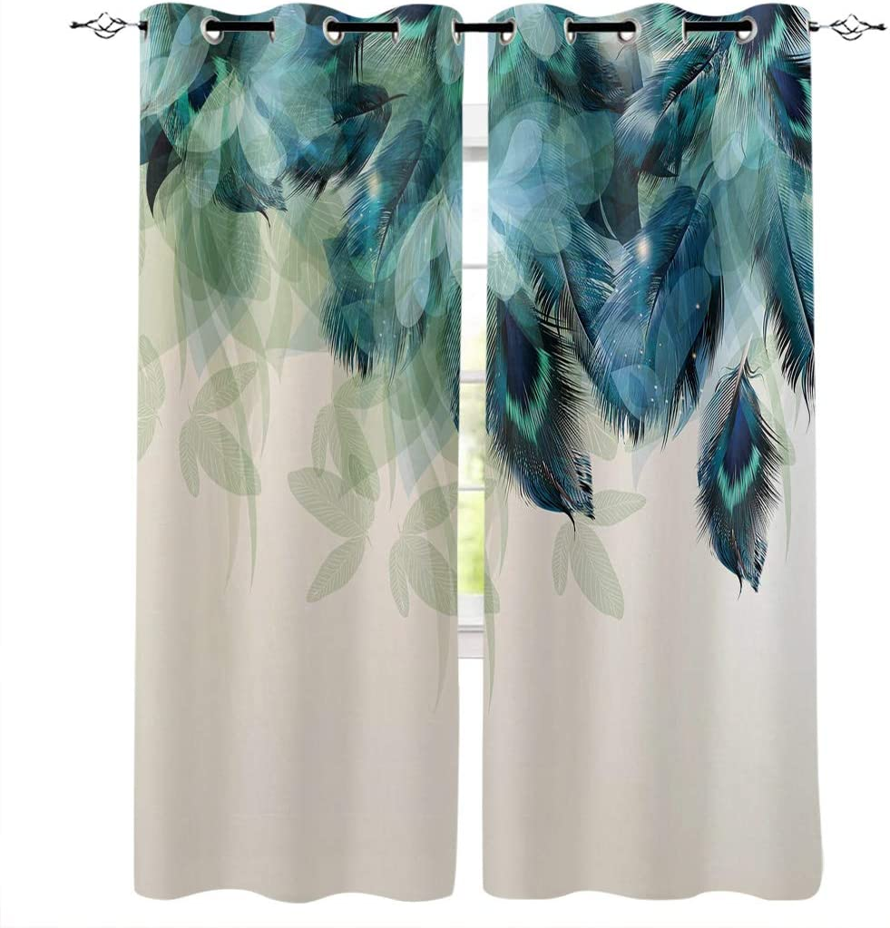 """Advancey Bedroom Window Curtain Panels Peacock Feather Teal Blue Turquoise Floral Green Leaf Thermal Insulated Curtains 2 Panels Set,27.5"""" W x39 L"""