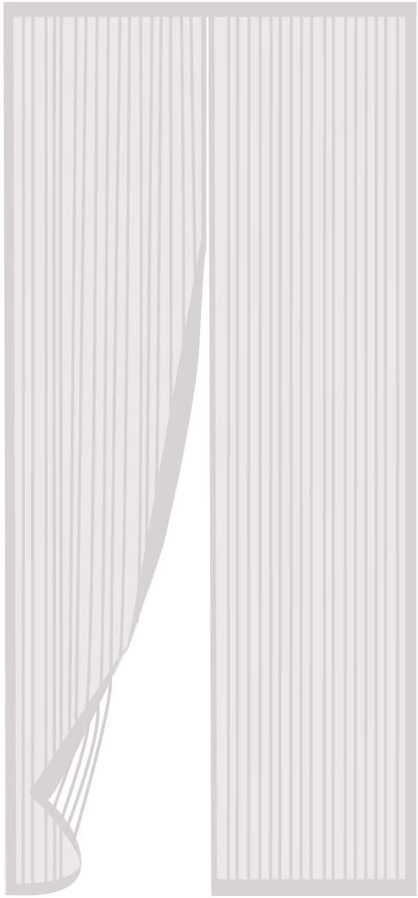 TRIXES Puerta mosquitera magnética Blanca-Panel Cortina Malla Plegable-Red mosquitera Mantiene Fuera Insectos Permite Entrada Aire Fresco-Puertas de 90X210cm