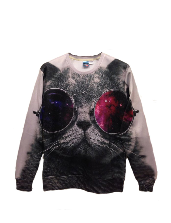 Pink Queen Pullover Round Collar Sunglasses Cat White Sweatshirt Sweater Hoodie (M)