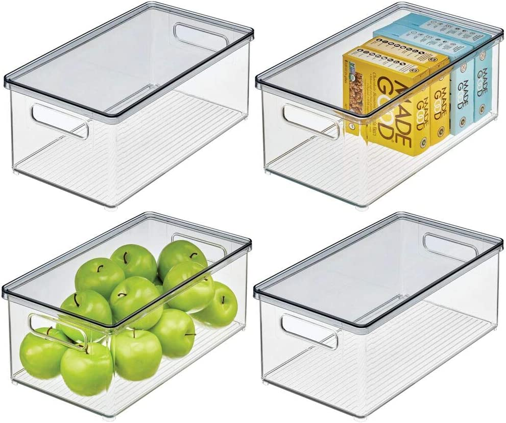 mDesign Plastic Stackable Kitchen Pantry Cabinet, Food Storage Bin Box with Handles, Lid - Organizer for Packets, Jars, Snacks, Pasta - 4 Pack - Clear/Smoke