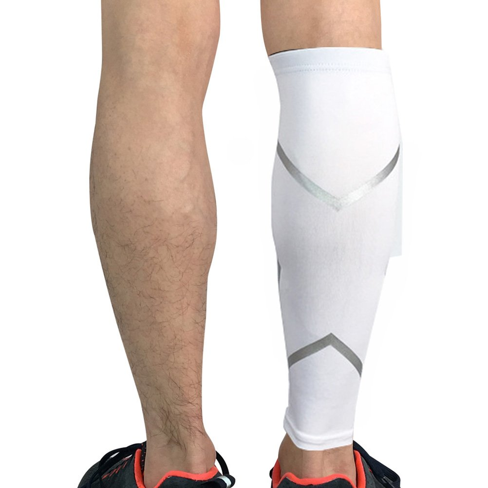 Calf/Shin Brace,Leg Support Calf Compression Sleeve Socks (1 Pair) for Shin Splints and Varicose Veins, AIDS (White, XL)