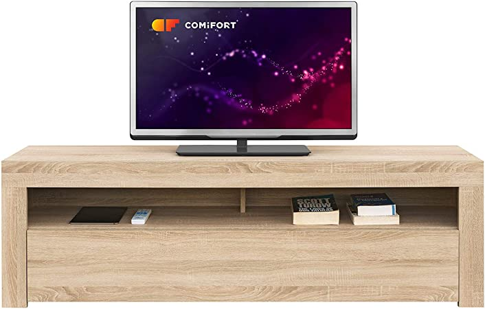Comifort AP84S – Mueble TV Salón Moderno Mesa Televisión, Colores: Blanco, Blanco/Roble, Roble, Medidas: 160x35x50 Cm (Roble): Amazon.es: Electrónica