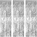 JVIGUE 3 Pack Foil Curtains Metallic Foil Fringe Curtain for Birthday Party Photo Backdrop Wedding Event Decor (Sliver)