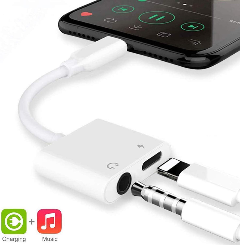 Adaptador para iPhone 8 Adaptador Jack de 3,5 mm Conector de Auriculares Adaptador Compatible con iPhone 8/8Plus/ 7/7Plus/11/11Pro/X/XS MAX Convertidor de Audio Compatible con Todos los iOS - Blanco