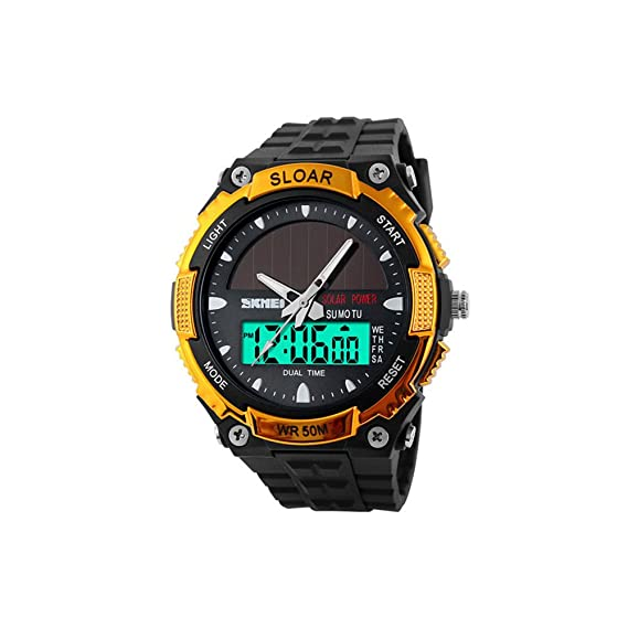bounabay energía Solar de los hombres del deporte del reloj LED Digital Dial de wristwatches-gold: Amazon.es: Relojes