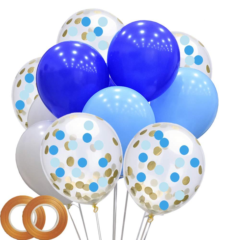 男の子の誕生日パーティー用バルーン 48個パック ブルーとホワイトのラテックスバルーン 紙吹雪バルーン付き 男の子の誕生日パーティー ベビーシャワー用   B07NZHQ94W