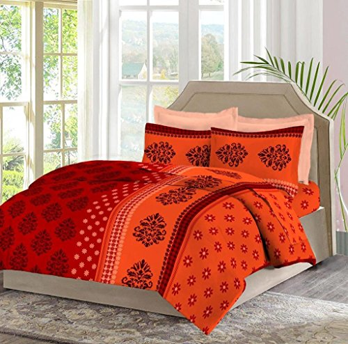 Bombay Dyeing Celiosa 120 TC Cotton Double Bedsheet with 2 Pillow Covers – Red
