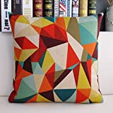 Ojia 18 X 18 Inch Cotton Linen Decorative Throw Pillow Cover Cushion Case with Gift Card, Color Geometry