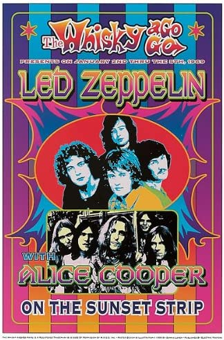 Led Zeppelin Alice Cooper by Dennis Loren Print Poster 13.5x19.75