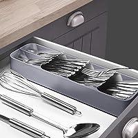 Cutlery Organiser Drying Tray Kitchen Drawer Organizer Spoon Divider Box x2 Grey + Grey