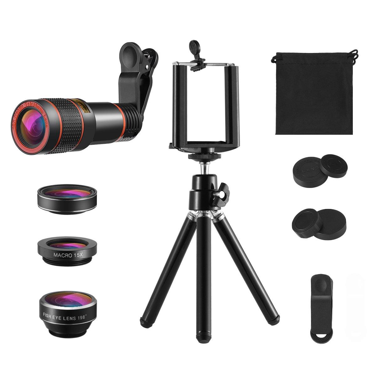 KeeKit 4 in 1 Cell Phone Camera Lens Kit, 12X Telephoto Lens + 198° Fisheye + Macro Lens + Wide Angle +Phone Holder + Tripod for iPhone X/8/8 Plus/7/7 Plus/6s, Huawei, Samsung & Smartphones by KeeKit