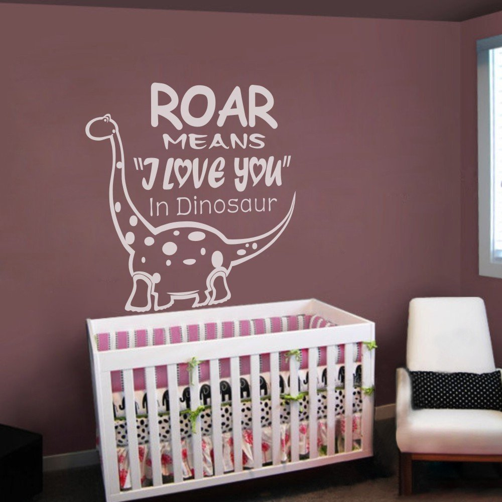 Amazon.com: Vinyl Nursery Wall Decal Kids Love Quote Dinosaur Wall Sticker  Wall Graphic Kids Room Art Decoration Roar Means I Love You In Dinosaur  £¨X Large ...