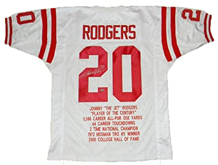 the latest 01aeb 6cb28 Johnny Rodgers Signed Nebraska Cornhuskers #20 White Stat ...