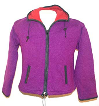 24fa0aa58 813 WOOL FLEECE LINED SHERPA JACKET SWEATER KNIT(M/L PURPLE) at ...